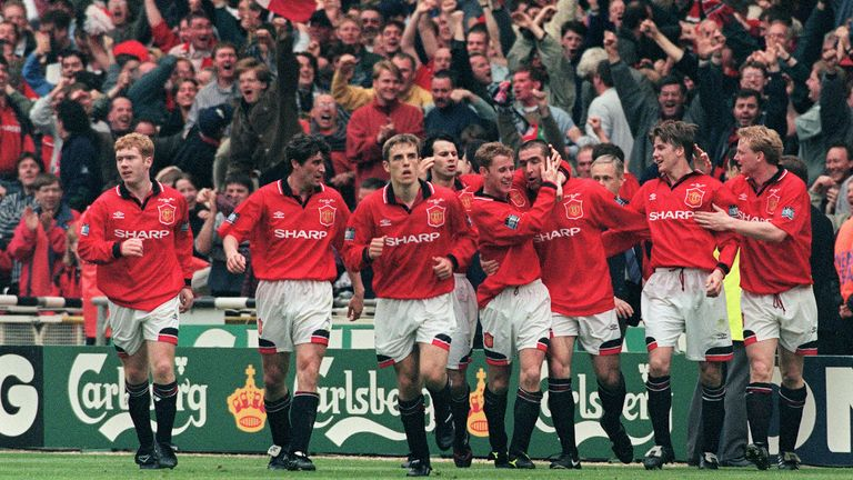 Phil Neville (centre) replaced Gary in United's line-up for the 1996 FA Cup final