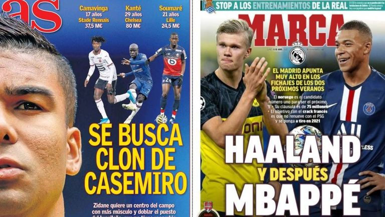 Spanish paper AS claimed this week that Real Madrid are seeking a Casemiro 'clone' while Erling Haaland and Kylian Mbappe remain on the club's radar, reports Marca