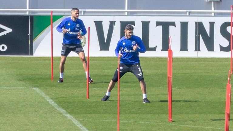 Teams in Germany's Bundesliga have returned to group training but, like Schalke, are still practising social distancing