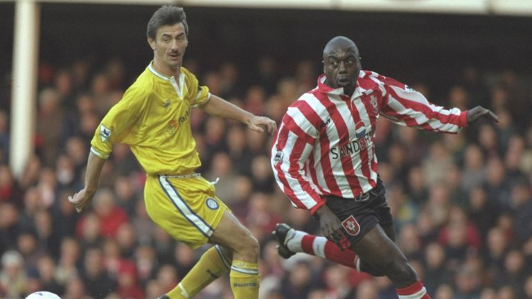 Ian Rush challenges Ulrich van Gobbel during the infamous encounter