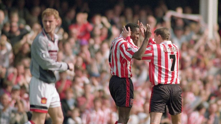Southampton celebrate during their victory over Manchester United in 1996