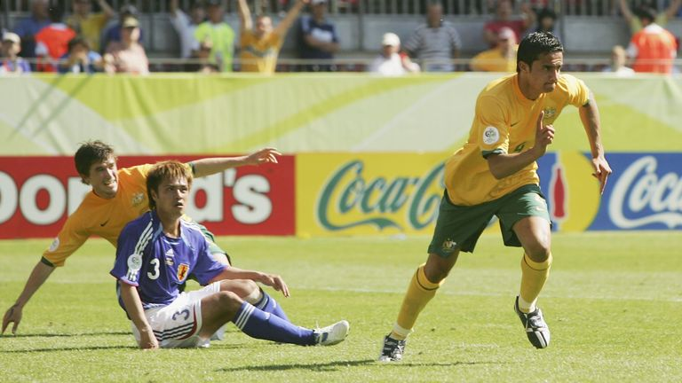 Cahill scored twice for Australia in a 3-1 win over Japan at the 2006 World Cup