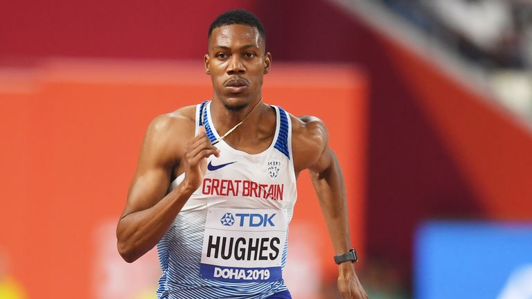 Zharnel Hughes competes in Doha
