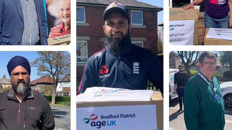 England's Adil Rashid makes a delivery on behalf of Bradford District age UK