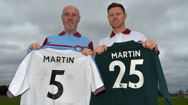 David Martin poses with his father, Alvin, after signing for West Ham