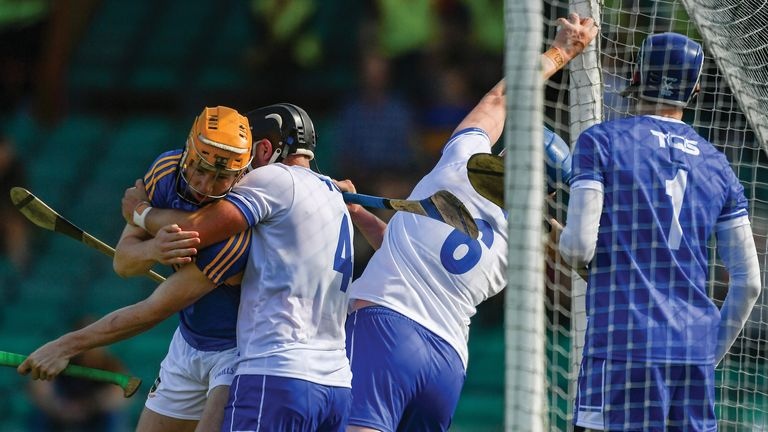 Waterford's Austin Gleeson catches the sliotar, which was judged to have crossed the goal-line in the 2018 Munster Championship