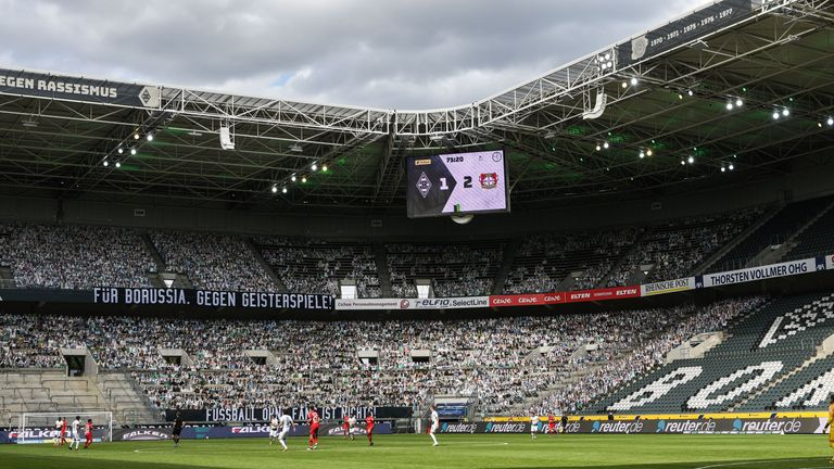 Cardboard fan cut-outs were used at Borussia Moenchengladbach as part of the club's 'Stay at home, be in the stands' campaign