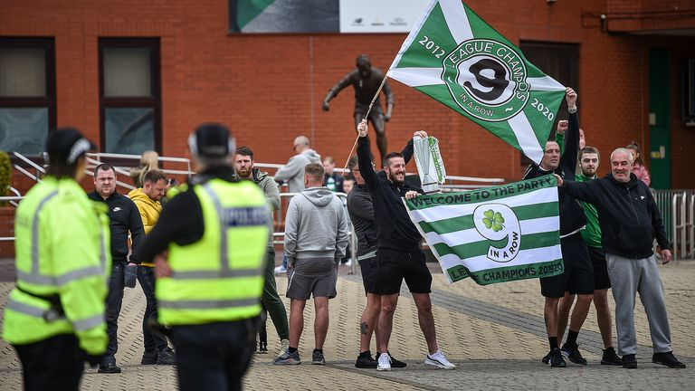 Celtic fans gathered outside Celtic Park after their ninth successive title was confirmed