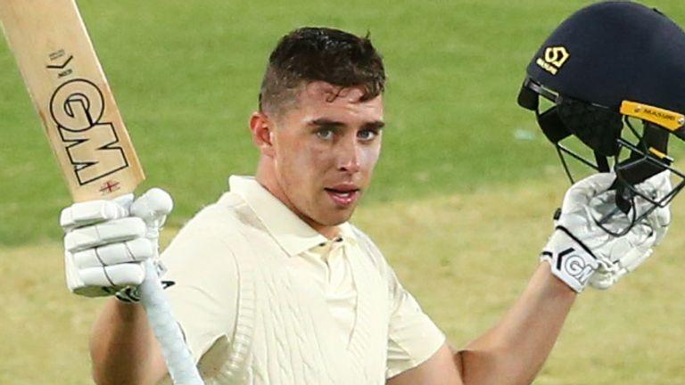 Dan Lawrence celebrates his century against Australia A at the MCG