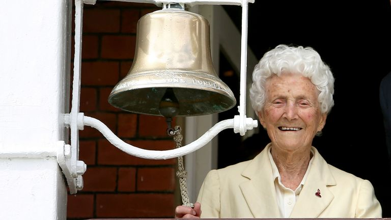 Eileen Whelan-Ash rings the bell at Lord's ahead of the 2017 Women's World Cup Final (picture courtesy of MCC)