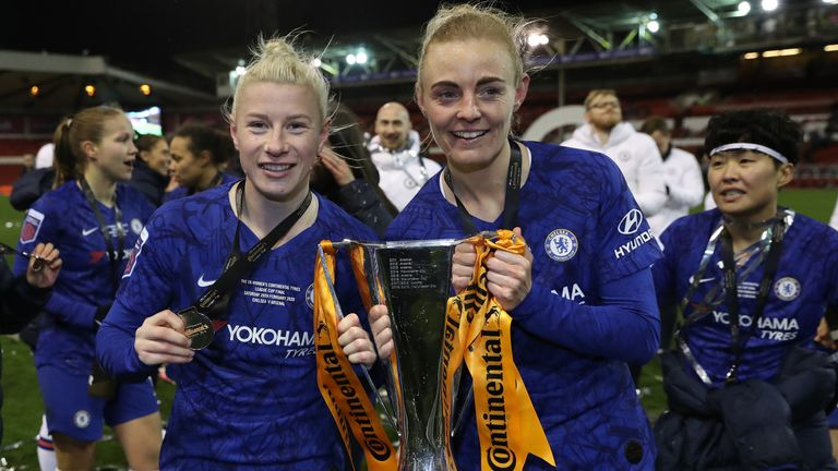 England, left, scored a stoppage time winner as Chelsea lifted the Continental Cup in February