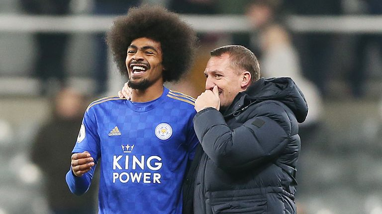 Choudhury laughs with boss Brendan Rodgers