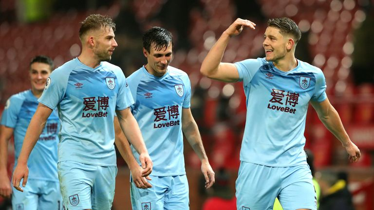 Tarkowski celebrates Burnley's win at Manchester United this year