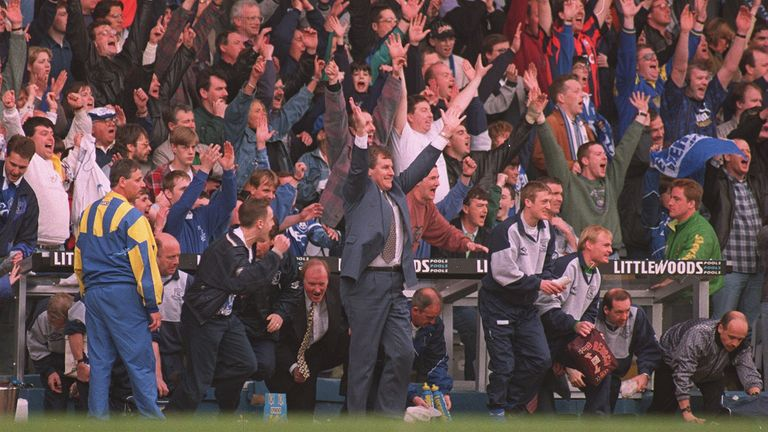 Joe Royle celebrates an Everton goal in the FA Cup semi-final victory