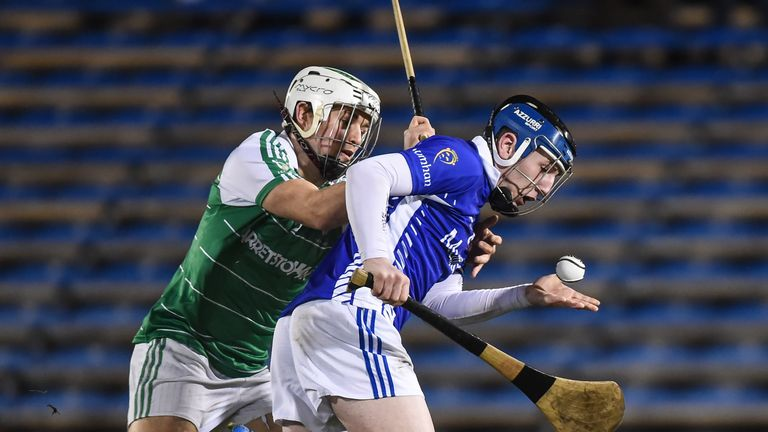 Lee Chin of Leinster tackles Shane Bennett of Munster during the 2016 hurling final