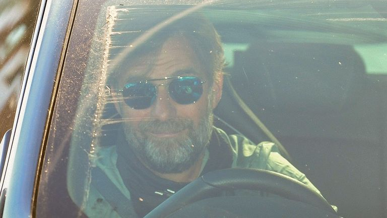 Jurgen Klopp arrives at Melwood for Liverpool's first training sessions since the coronavirus suspension