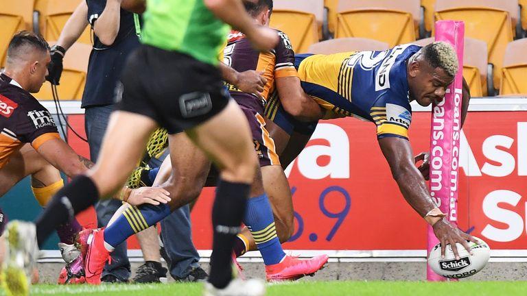 Maika Sivo shows tremendous athleticism to score for Parramatta