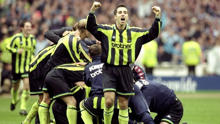 Somewhere at the bottom of that pile, Nicky Weaver... after his penalty shootout save sent Manchester City into the old  First Division
