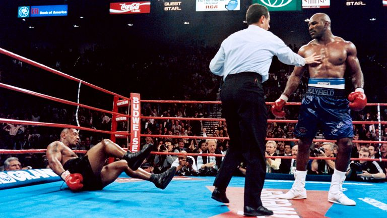 Holyfield caused an 11th-round shock when he first met Tyson