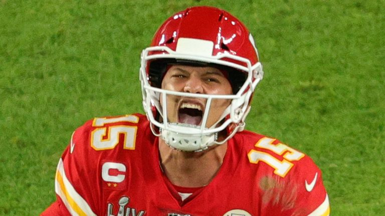 Patrick Mahomes celebrates after inspiring his Chiefs to an epic comeback win over the 49ers in Super Bowl LIV