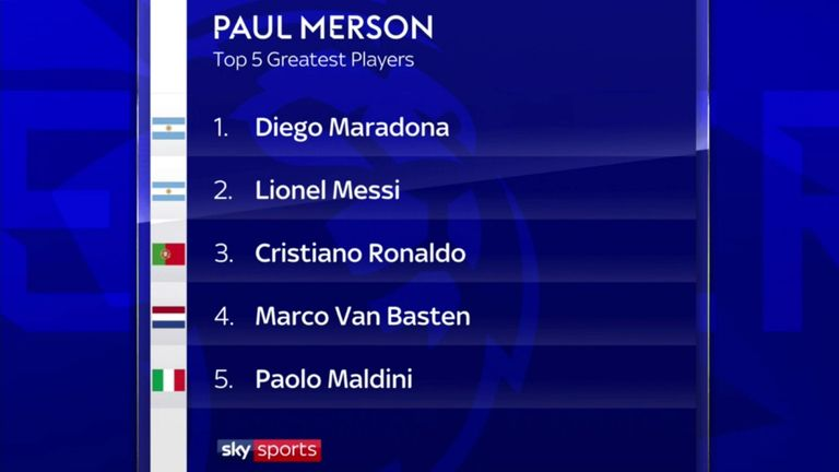Merson's top five greatest players of all time