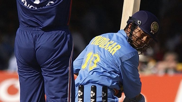 Sachin Tendulkar is bowled by Ashley Giles to leave India struggling at 146-5