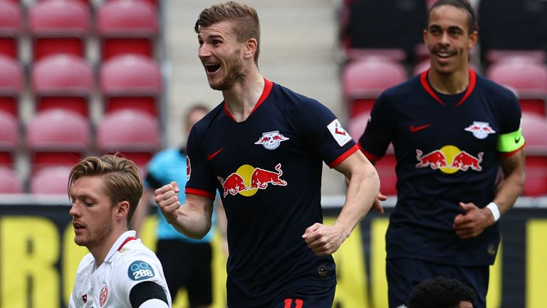 Timo Werner celebrates his second goal against Mainz