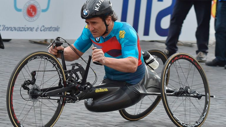 Alex Zanardi is a four-time Paralympic road cycling gold medallist