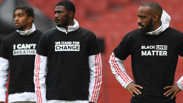 Arsenal players wore Black Lives Matter T-shirts before their friendly with Brentford
