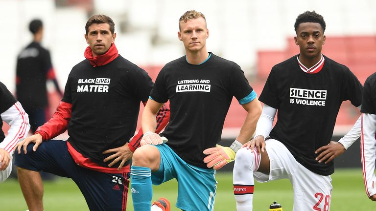 Arsenal took a knee and woreBlack Lives Matter T-shirts ahead of their friendly against Brentford