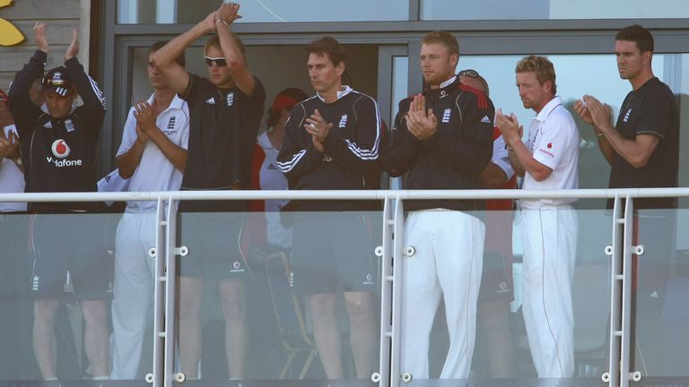 The England balcony claps during an absorbing end to day five in Cardiff