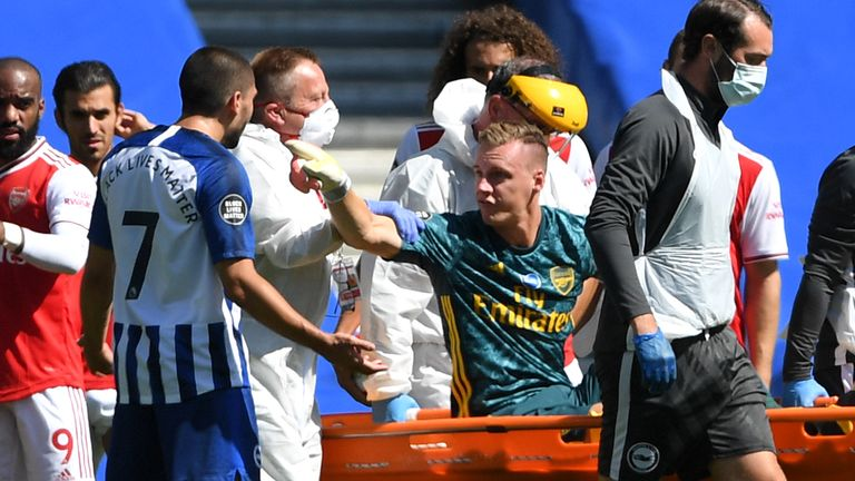 Bernd Leno was angry with Maupay  as he was carried off on a stretcher