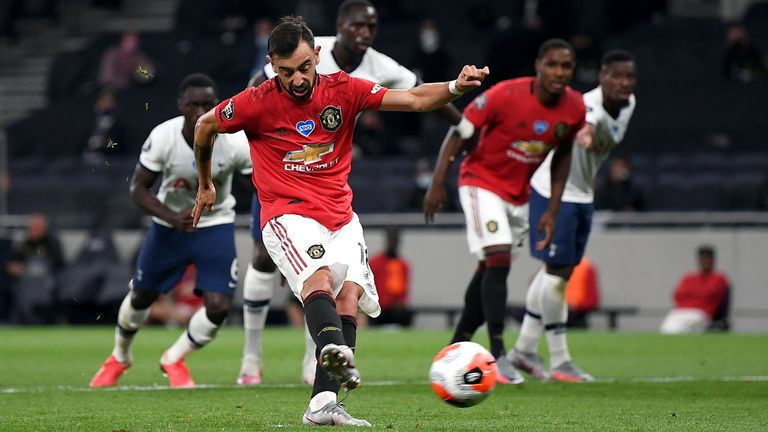 Manchester United's Bruno Fernandes levels from the penalty spot