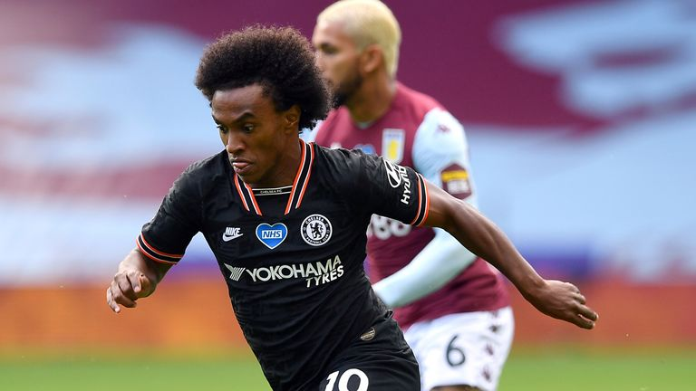 Willian started Chelsea's first Premier League match after the restart