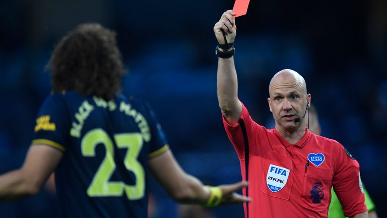 David Luiz is sent off at Man City
