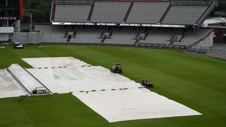 Rain prevented any play at a soggy Emirates Old Trafford on Monday
