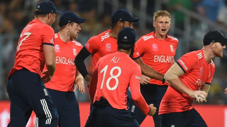 England celebrate after Ben Stokes takes a brilliant catch to dismiss Andre Russell