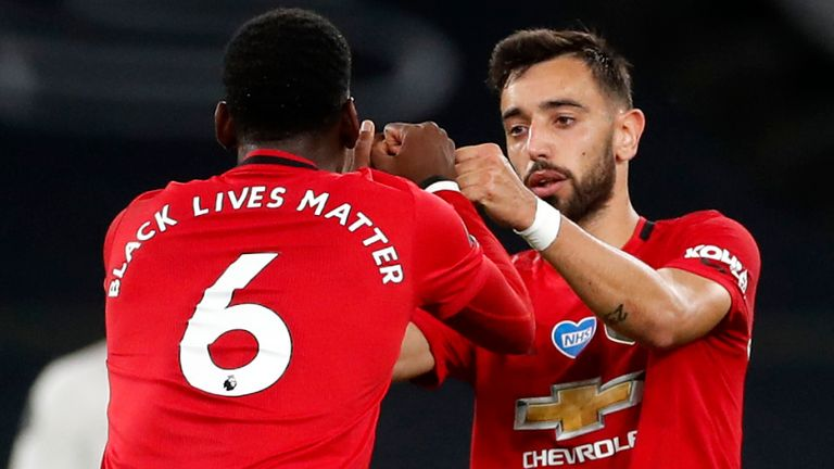 Paul Pogba and Bruno Fernandes start together against Sheffield United