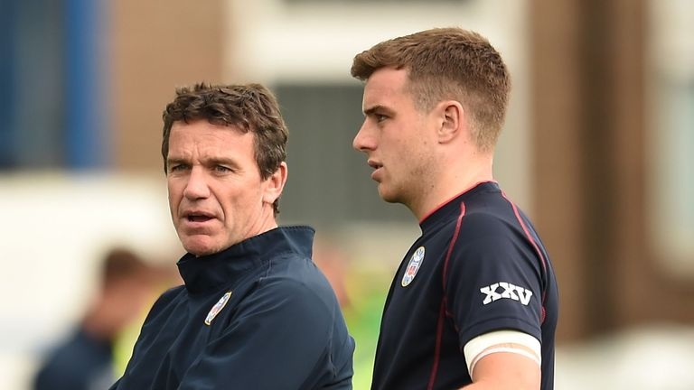 Mike Ford (left) with his son George Ford (right)
