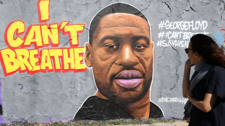 Street art commemorating George Floyd
