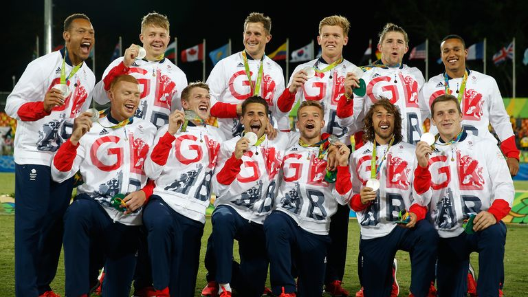 Great Britain celebrate winning a Silver medal at the 2016 Olympics