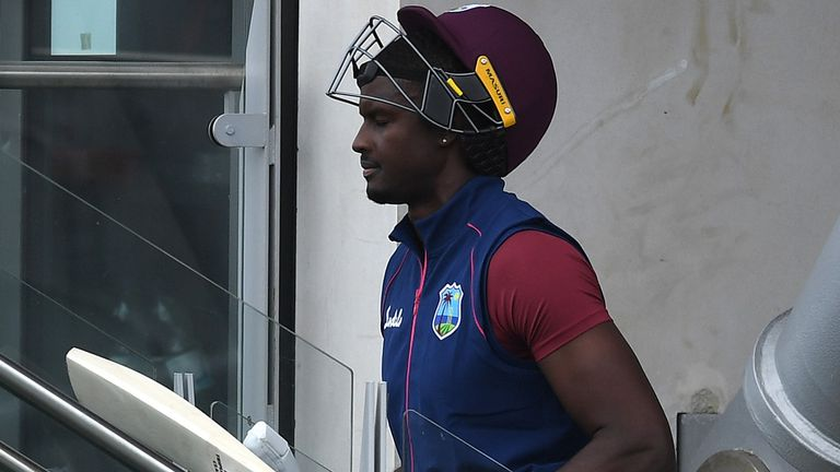 West Indies captain Jason Holder heads for the team changing room after being dismissed cheaply