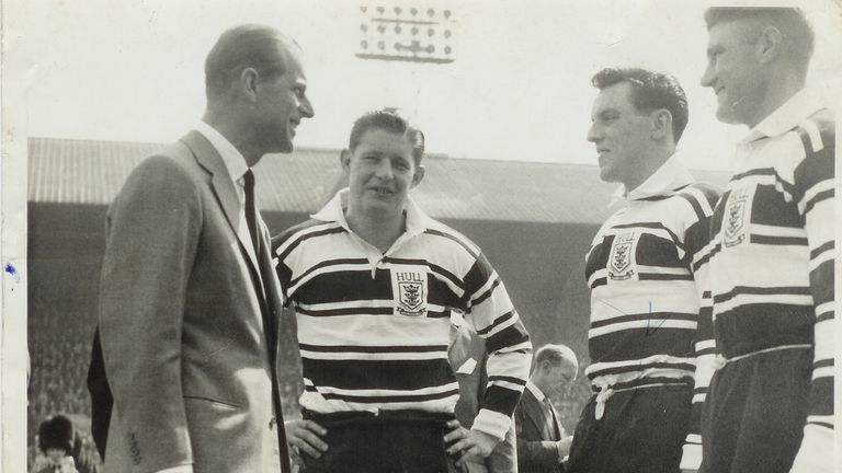 Johnny Whiteley as Hull captain with Prince Phillip ahead of the Challenge Cup final