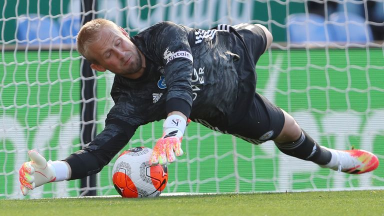 Kasper Schmeichel saves Neal Maupay's penalty in Leicester's Premier League clash with Brighton