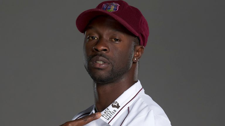 West Indies fast bowler Kemar Roach displays the Black Lives Matter logo