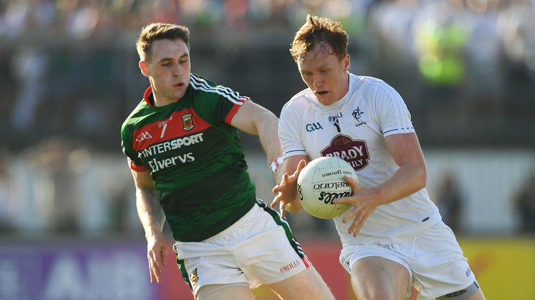 Paul Cribbin of Kildare in action against Paddy Durcan of Mayo during the 2018 qualifier at St Conleth's Park, Newbridge