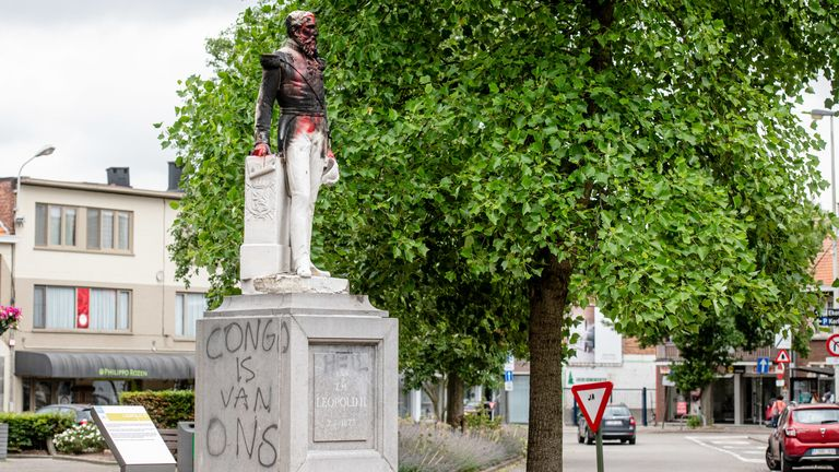"""A statue of King Leopold II of Belgium with a graffiti on its side reading """"Congo is ours"""" - pictured on June 4, 2020 in Antwerp"""