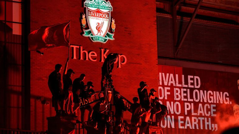 There were scenes of mass gatherings outside Anfield last Thursday after the club's Premier League title was confirmed