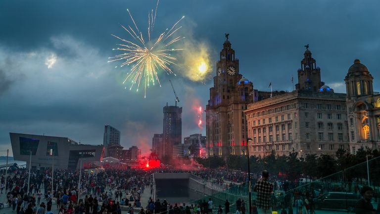 Damage was caused to the Royal Liver Building in Liverpool