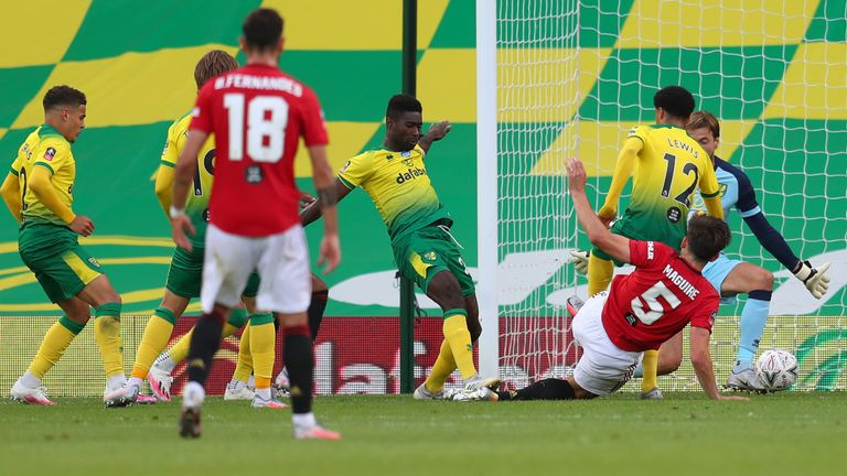 Maguire pounced in the six-yard box to break Norwich hearts